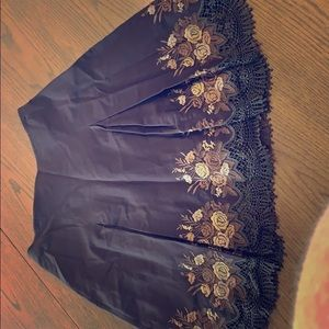 Brown Floral Laced Skirt Size 4